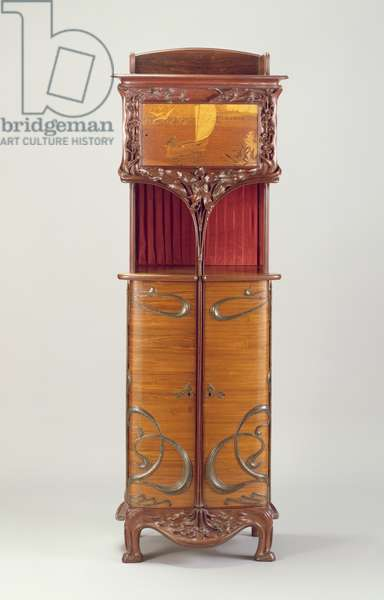Cabinet, c.1900 (kingwood, mahogany, amaranth, metal and silk)
