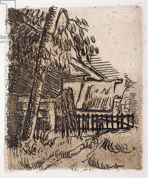 Landscape At Auvers, Farm Entrance On The Rue St. Remy (etching)