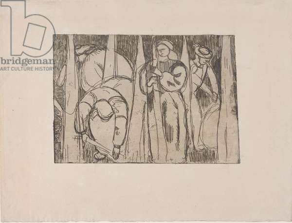 Les Rouisseuses (The Flax Gatherers) 1893 (etching)