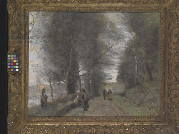 Ville D'Avray, Woodland Path Bordering The Pond (oil on canvas)