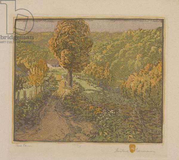 Rose Farm, 1916-17 (colour woodblock print)