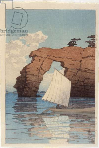 Matsushima: Zaimoku Island (colour woodblock print)