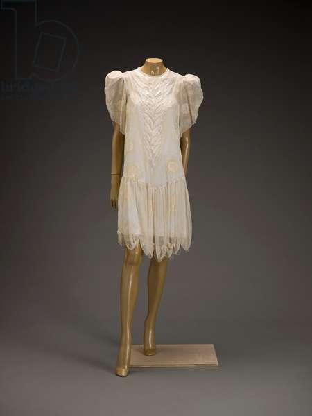 Dress, 1986 (silk chiffon, faux pearls, rhinestones & leaf-shaped paillettes)