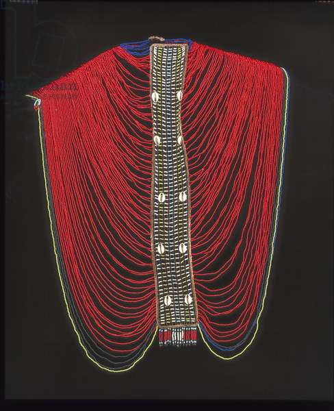 Woman's Shoulder Garment (glass beads, cowrie shells & metal wire)