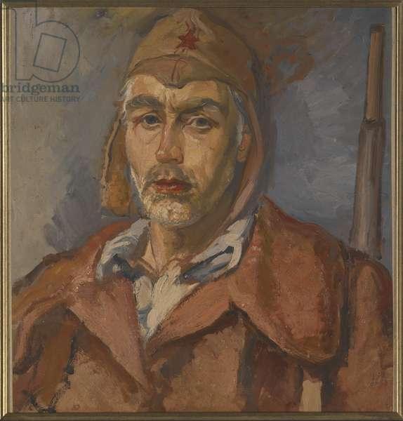 Self-Portrait as Republican Militiaman, Spanish Civil War, c.1938 (oil on wood)