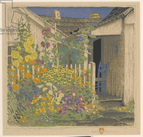 Grandma Battin's Garden, 1926 (colour woodblock print)