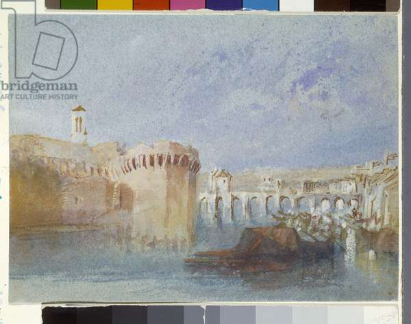 Angers: The Walls Of Doutre With The Tower Of The Church Of La Trinité (watercolour and gouache on blue paper)