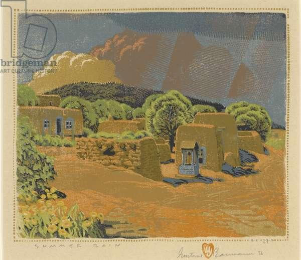 Summer Rain, 1926 (colour woodblock print)