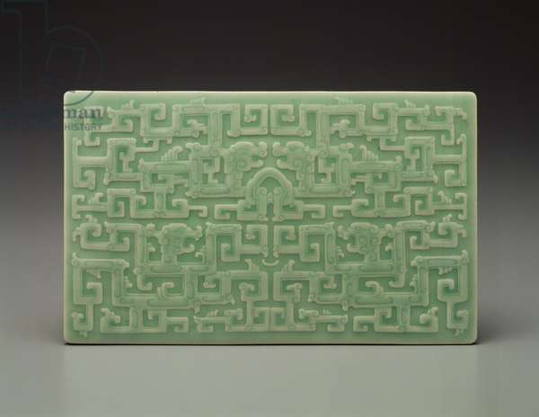 Book Cover with Dragon Design, c.1730 (glazed porcelain)