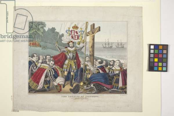 Landing Of Columbus (hand-coloured lithograph)