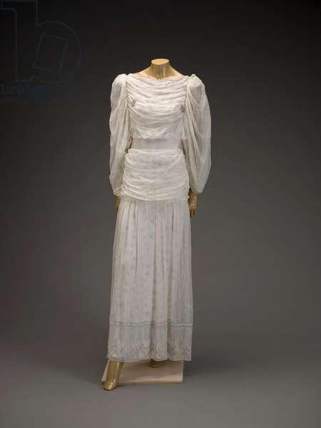 Dress, 1987 (silk chiffon, faux pearls, crystal beads & rayon knit lining)