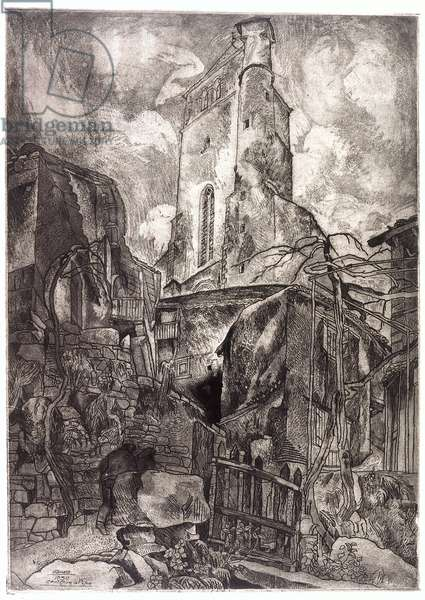 Up To The Church, St. Cirq Lapopie (etching, aquatint)