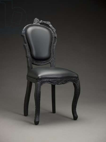 Smoke dining chair, 2002 (epoxy resin & leather)
