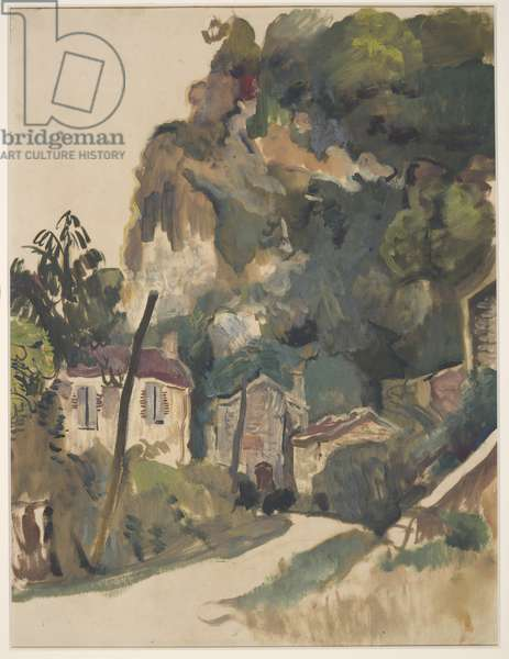 Cliff and Road, Village of Vers, 1927 (oil & gouache on paper)