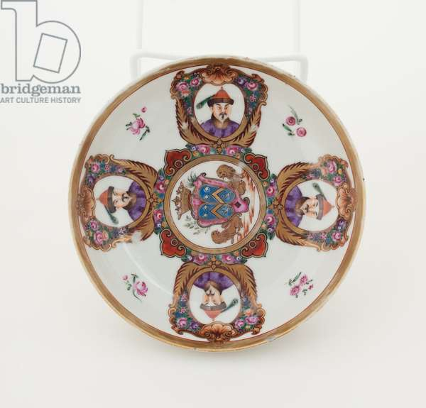 Saucer with arms of Leroy pattern, c.1787 (porcelain with overglaze enamels & gold)