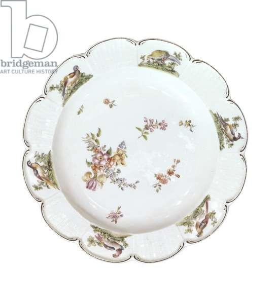 Plate (soft-paste porcelain, polychrome enamels, and gilding)