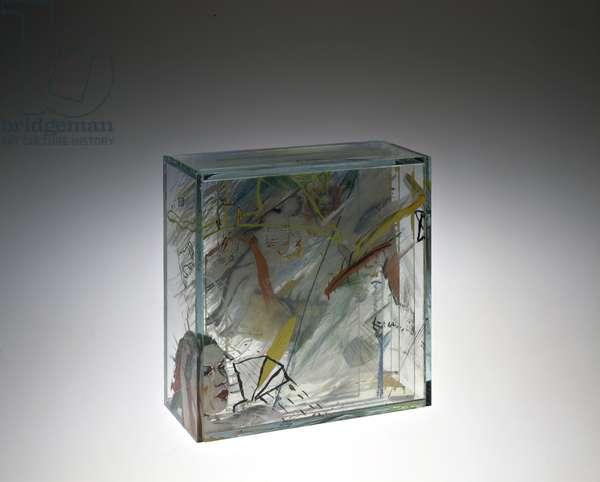 Pepik/Joe, 1989 (sheet glass, sandblasted, engraved & painted)