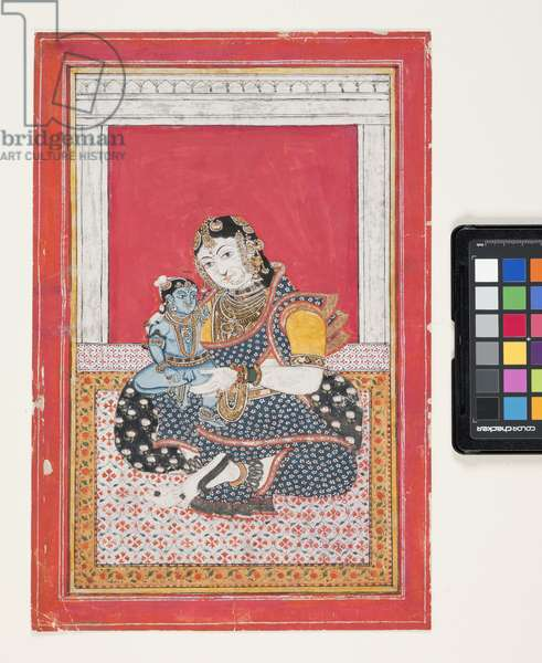 Krishna And Yashoda (gouache, silver, and gold leaf on paper)
