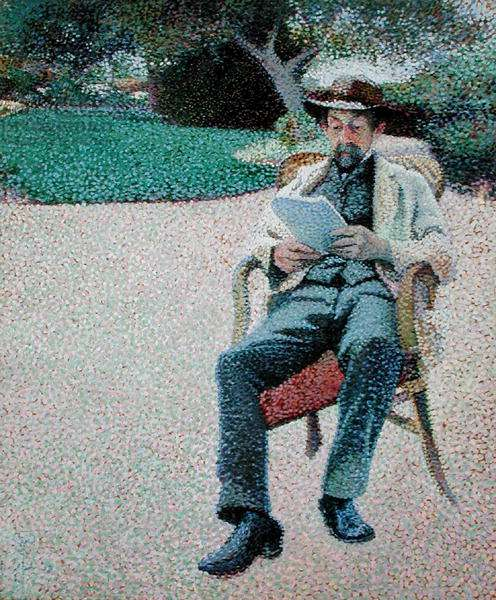 Pere Biart Reading in the Garden, 1890-91 (oil on paper mounted on canvas)