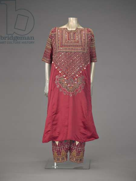 Woman's shirt, aba, and women's trousers, early 1900s (silk, embroidered with silk & mirrors)