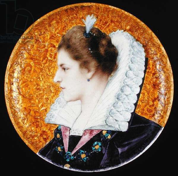 Plate with portrait of a French Renaissance Lady, c.1880 (stoneware, polychrome glazes & gold foil)