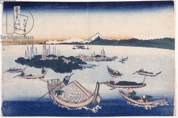 Tsukuda Island In Musashi Province (colour woodblock print)