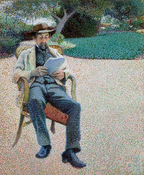 Père Biart Reading In The Garden (oil on brown paper mounted to canvas)