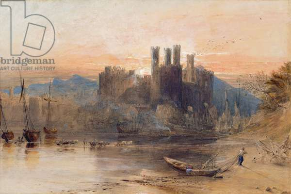 Caernarvon Castle, North Wales, 1836 (w/c, gouache & black chalk on white paper)