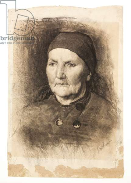 Study Head (Woman in a Scarf), 1882-1885 (charcoal on off-white paper)