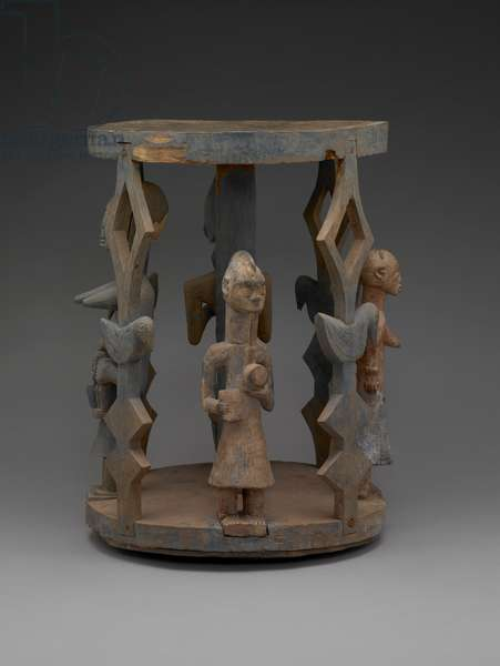 Stool Or Pedestal With Human Figure