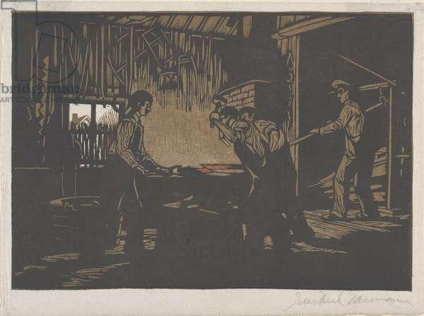 The Blacksmith Shop, 1910 (colour woodblock print)