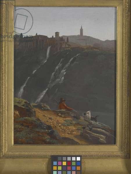 Goatherd Opposite The Falls Of Tivoli (oil on canvas)