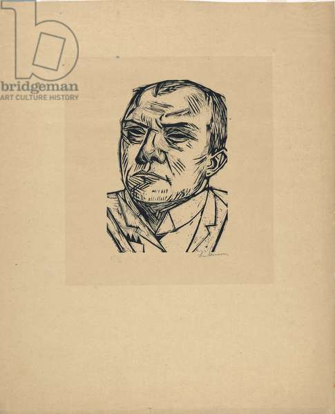 Self Portrait, 1922 (woodblock print on cream laid paper)