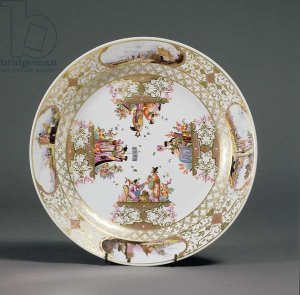 Plate, Meissen Porcelain Manufactory, c.1741-5 (hard paste porcelain, polychrome enamels & gilding) (decorated by Christian Friedrich Herold)