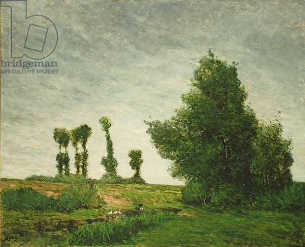 Landscape with Poplars, 1875 (oil on canvas)