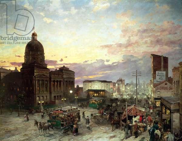 Washington Street, Indianapolis at Dusk (oil on canvas)