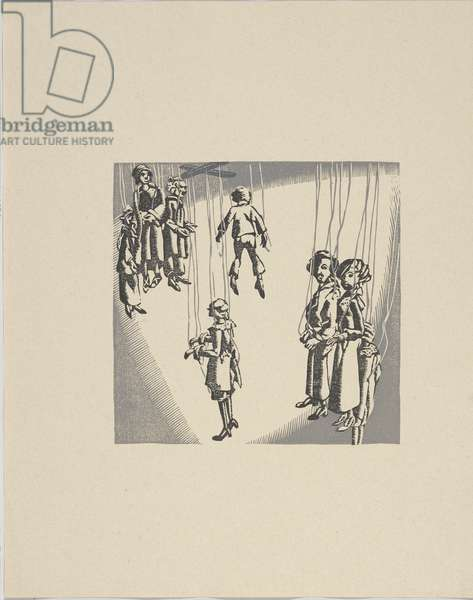 Marionettes Backstage, 1931 (colour woodblock print on paper)
