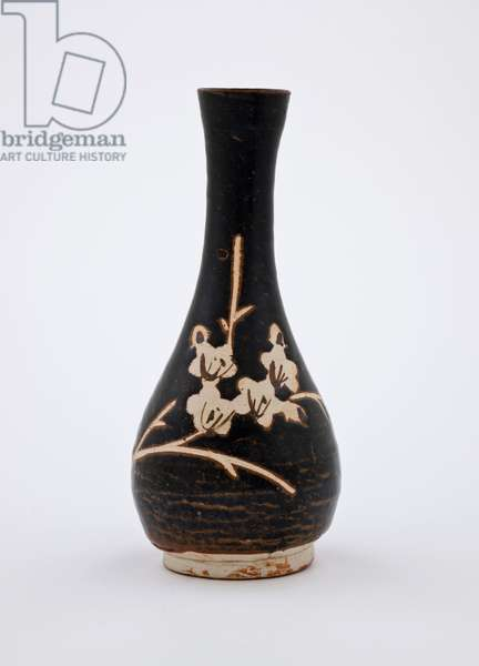Bottle with reserve plum design, 1200s (brown glaze)