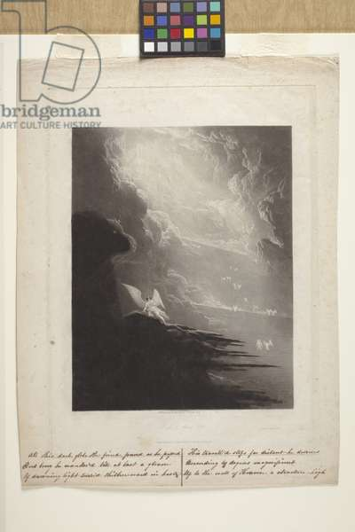 Satan Viewing The Ascent To Heaven (mezzotint)