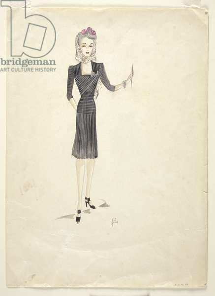 Sketch of a short black dress with hat (w/c on paper)