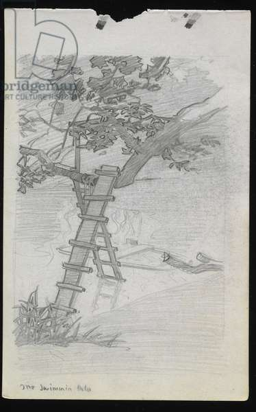 The Swimmin' Hole, 1910 (graphite on paper)