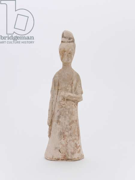 Figure of woman with long sleeves and high head-dress, 618-907 (pottery & porcelain)