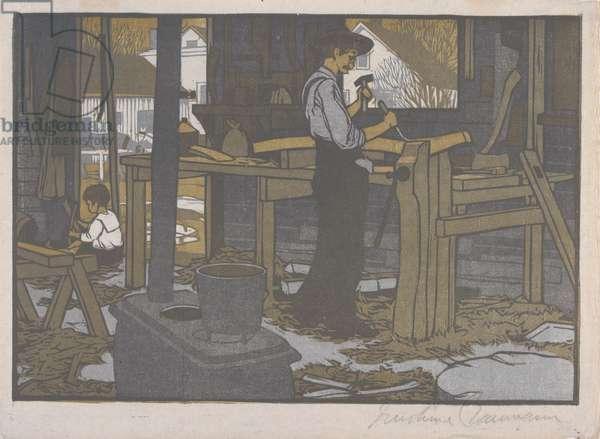 The Wagon Shop, 1910 (colour woodblock print)