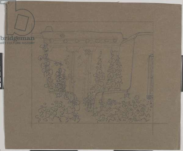 Sante Fe Garden with Hollyhocks (graphite on paper)