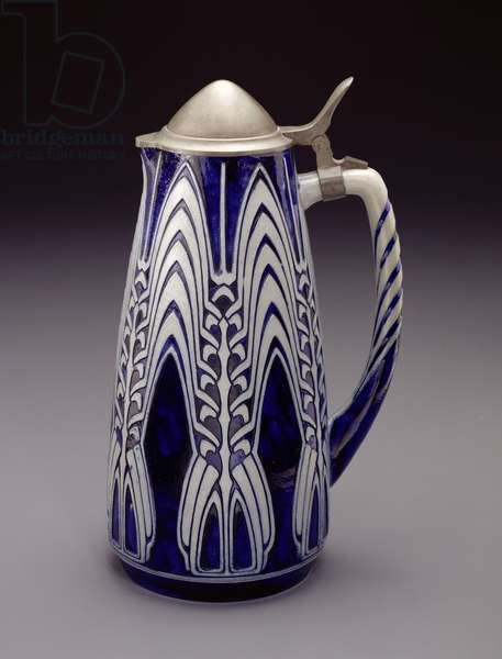 Pitcher, c.1907 (salt-glazed stoneware, blue cobalt decoration and pewter lid) (made by Simon Peter Gerz)