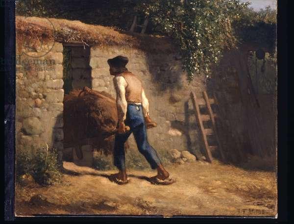 Peasant With A Wheelbarrow (oil on canvas)