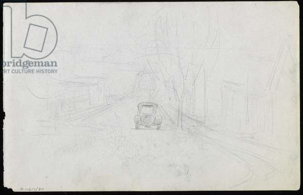 Car on village street leading to an iron truss bridge (graphite on paper)