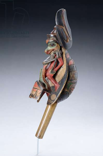 Haida ritual dance rattle in the form of a raven, from British Columbia (painted wood)