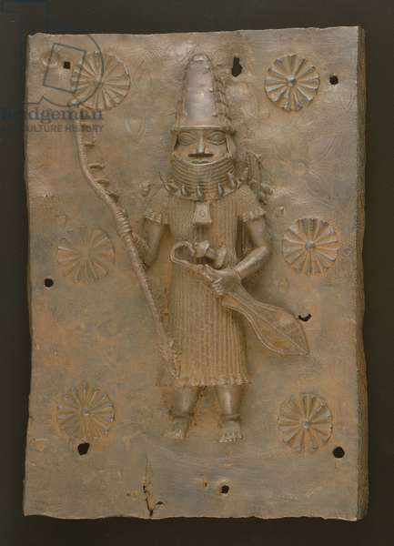Commemorative plaque depicting warrior, Benin, Nigeria (bronze)