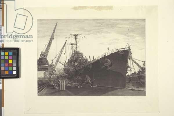 Battle Wagon - Uss Alabama Outfitting At Norfolk Navy Yard Crane Ship Kearsarge Alongside (etching and aquatint)